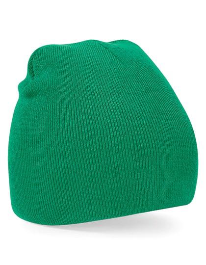 Pull-On Beanie Mütze Kelly green besticken