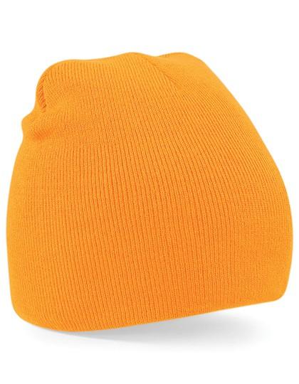 Pull-On Beanie Mütze orange besticken