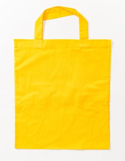 gelbe Stoffbeutel kurze Henkel